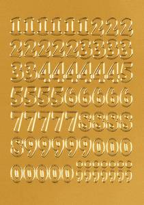 Bilde av VARIO talletiketter 12 mm, 0-9, gullfolie, 1 ark