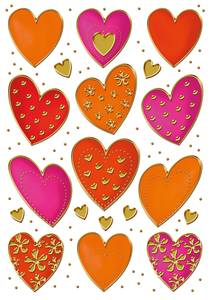 Bilde av DECOR Stickers Hjerter, gullpreg, 2 ark (10 pakk)
