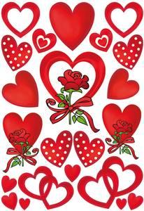 Bilde av DECOR Stickers Hjerter og roser, 3 ark (10 pakk)