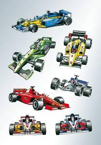 Bilde av DECOR Stickers Racerbiler, papir, 3 ark (10 pakk)