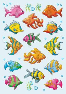 Bilde av DECOR Stickers Fisker, papir, 3 ark (10 pakk)