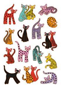 Bilde av DECOR Stickers Abstrakte katter, 3 ark (10 pakk)