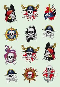 Bilde av DECOR Stickers Pirater I, papir, 3 ark, 10 pakk