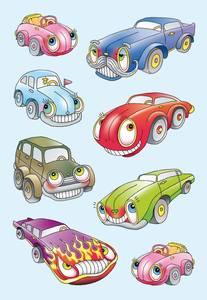 Bilde av DECOR Stickers Biler I, papir, 3 ark, 10 pakk