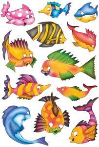 Bilde av DECOR Stickers Fargerike fisker, papir, 3 ark (10