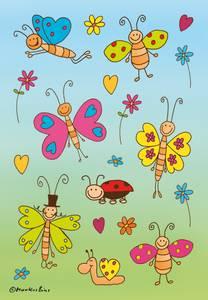 Bilde av DECOR Stickers Morsomme sommerfugler, 3 ark (10