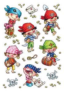 Bilde av DECOR Stickers Snille pirater, papir, 3 ark (10