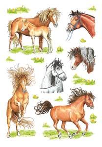 Bilde av DECOR Stickers Hestebilder, papir, 3 ark (10