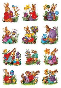 Bilde av DECOR Stickers Nostalgiske harer papir, 3 ark (10