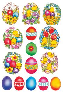 Bilde av DECOR Stickers Blomster og kylling, 3 ark (10