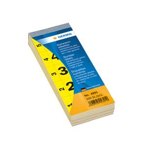 Bilde av Nummerblokk 28x56 mm, dobbel, 1-500 gul 100 ark,