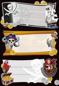Bilde av VARIO boketiketter Pirater, 3 ark (10 pakk)