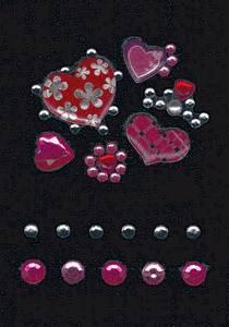 Bilde av GLAM ROCKS stickers Hjerter, 1 ark (10 pakk)
