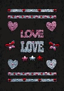 Bilde av GLAM ROCKS stickers Love, 1 ark (10 pakk)