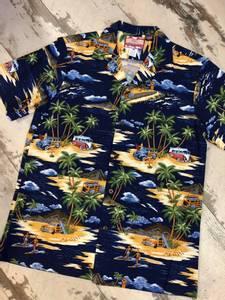 Bilde av Hawaiiskjorte - Woodie, Buss og Palmer - Navy