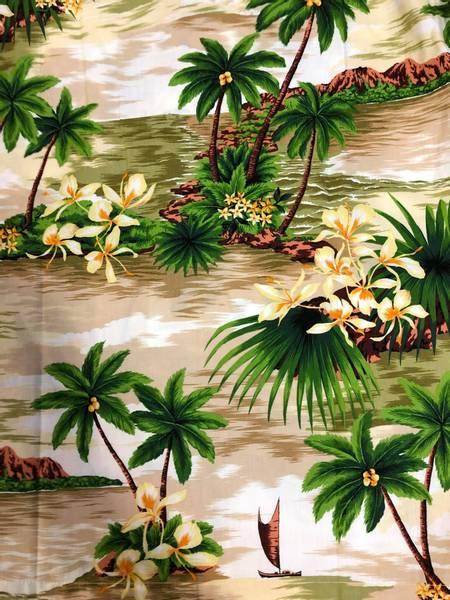Hawaiiskjorte - Palmer - Beige