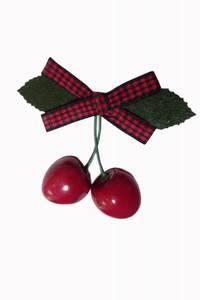 Bilde av Cherry hårspenne - Rød/Sort