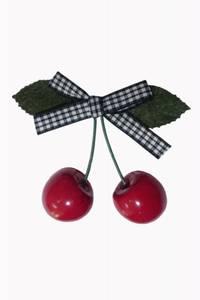 Bilde av Cherry hårspenne - Sort/Hvit