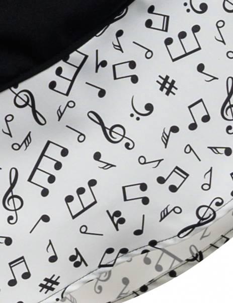 Music Note Swingskjørt - Sort / Hvit