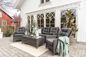Bilde av Imperia hagesett - 2 stoler, sofa og bord (mountain grey)