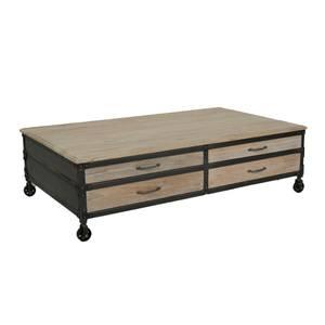 Bilde av Java sofabord i resirkulert furu og jern (150x90)