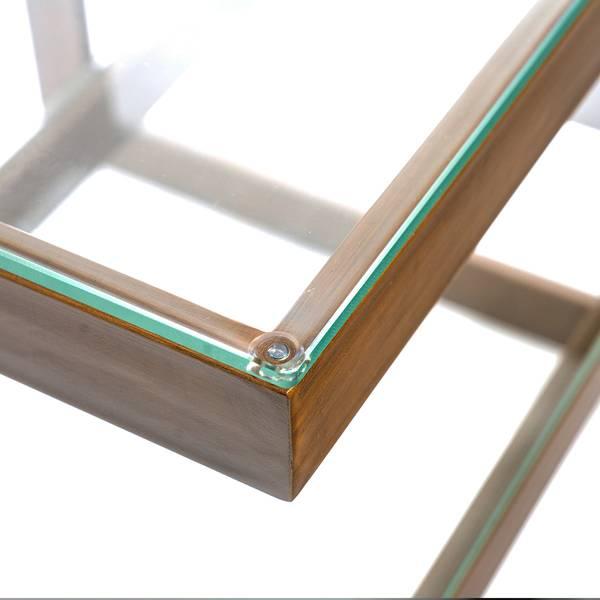 Versailles sidebord (50x50 - bronsefarget / klart glass)