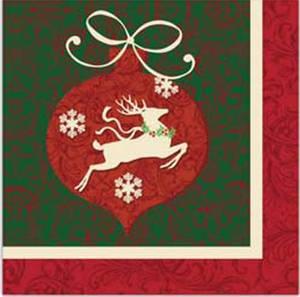 Bilde av Lunsjserviett 33 x 33cm 3lag, Julekule Rudolf