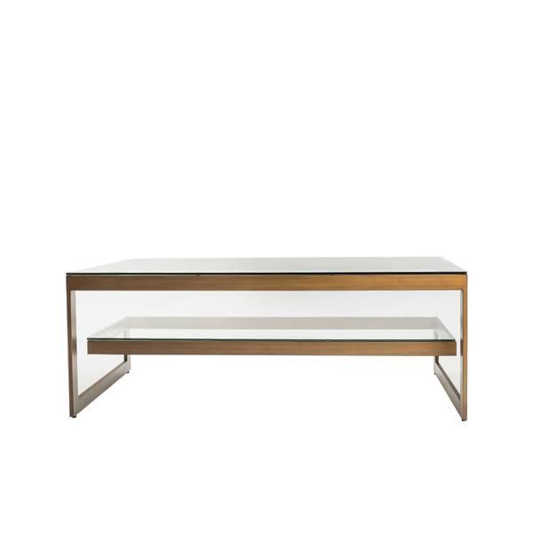 Versailles sofabord (130x70 - bronsefarget / klart glass)