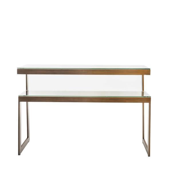 Versailles konsollbord (120x75x35 - bronsefarget / klart glass)