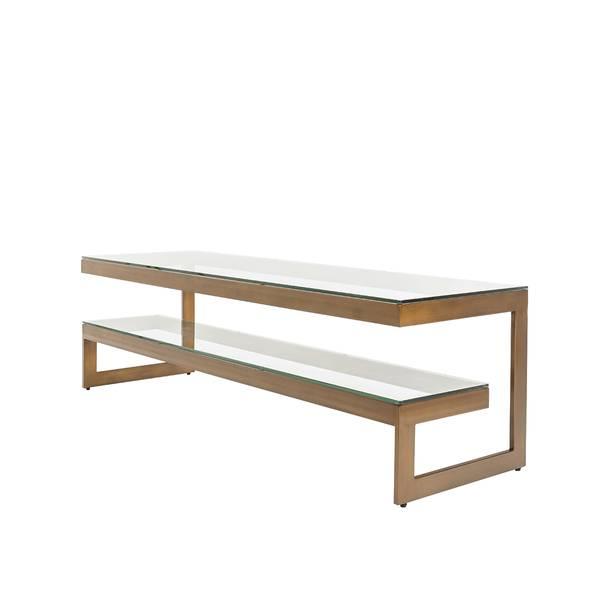 Versailles tv-bord (150x45x45 - bronsefarget / klart glass)