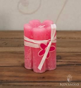Bilde av Kubbelys - blomst (7x10 cm - rosa)