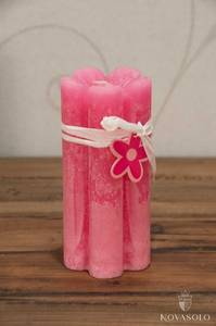 Bilde av Kubbelys - blomst (7x15 cm - rosa)