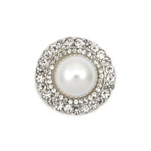 Bilde av Knapp med Diamanter/Bling og perle 21mm