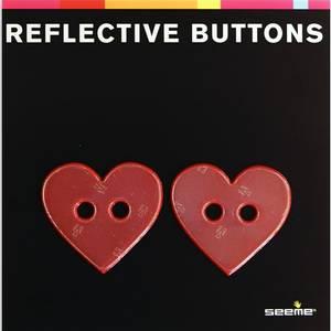 Bilde av 2stk Refleksknapp hjerte 40mm Rød