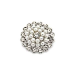 Bilde av Knapp med perler og bling 18mm