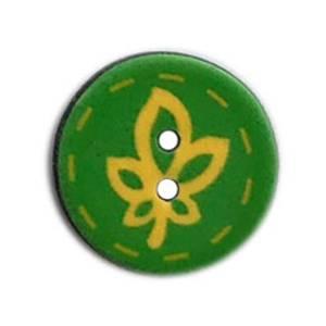 Bilde av Grønn gummi knapp med blad