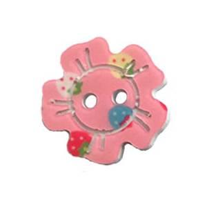 Bilde av Rosa gummiknapp med jordbær 20mm