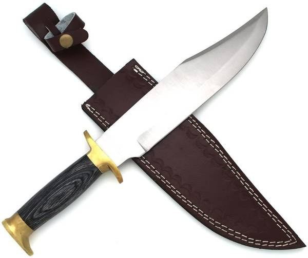 Bilde av WT - Håndlaget Black Wood Bowie Kniv med Lærslire