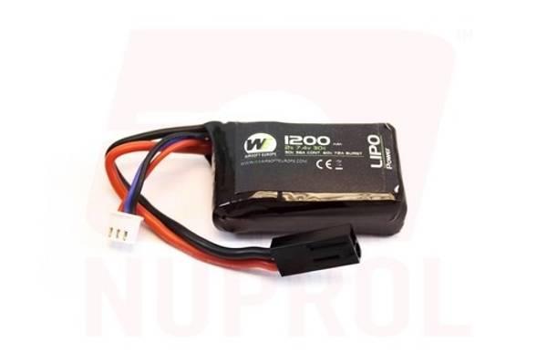 Bilde av Batteri Li-Po 7.4V - 1200mAh 30C - PEQ15 Micro