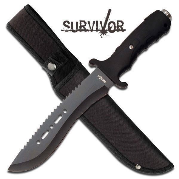 Bilde av Militær Overlevelseskniv med Slire - Svart