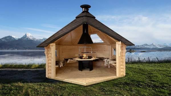 Bilde av Vindskydd 9.2 m2 Premium med grill och bänkar