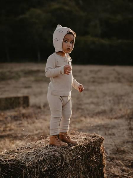 Bilde av Leggings Rib - The Simple Folk - Økologisk Bomull - Ecru