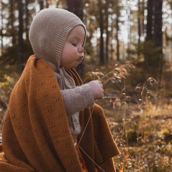 Bilde av Babyteppe - 70x95 - Merinoull - Hvid - Rust - Bibi