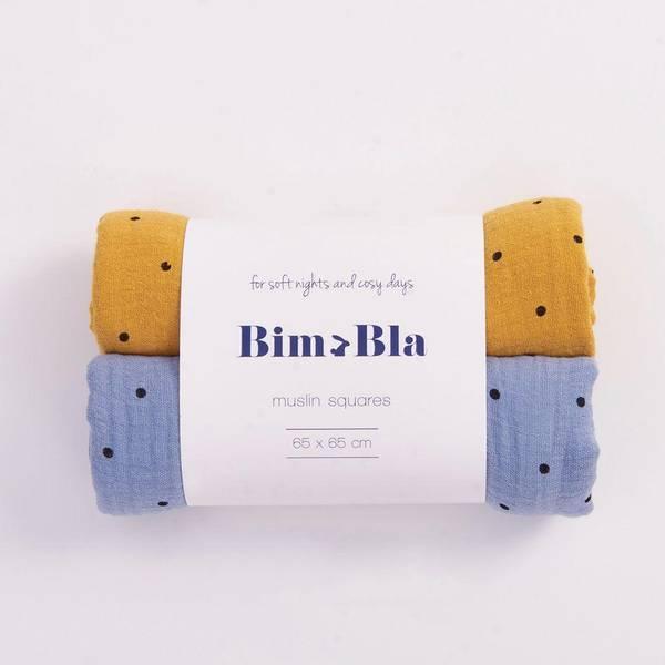 Bilde av Gulpeklut 2pk - 65x65 - Musselin - BimBla - Mustard&Blå