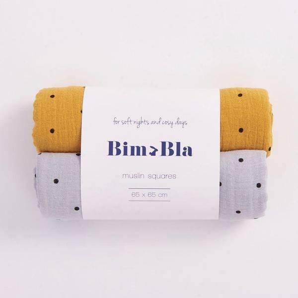 Bilde av Gulpeklut 2pk - 65x65 - Musselin - BimBla - Mustard&Grå