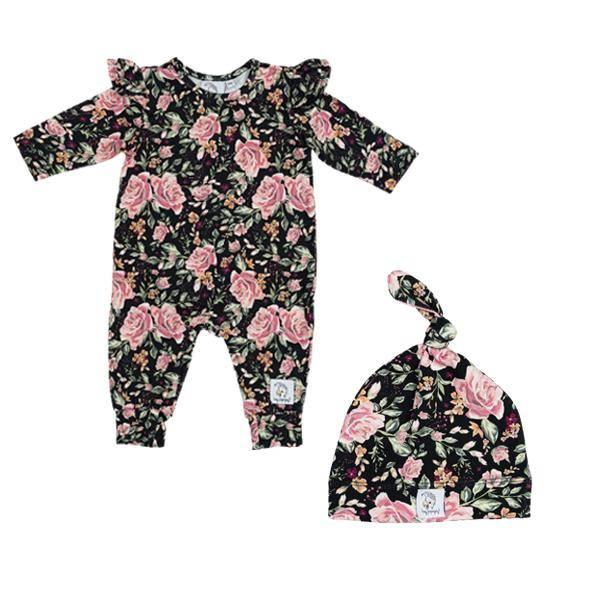 Bilde av Baby Romper & Lue 56/62 - Babyklær - Hey Popinjay - Black