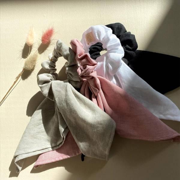 Bilde av Scrunchie i Naturlig Lin - One Size - Looks by Luks - Hvit