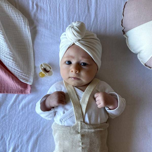 Bilde av Baby Turban med søt donut - Looks by Luks - Hvit