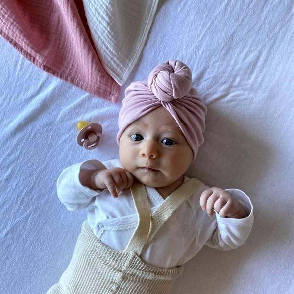 Bilde av Baby Turban med søt donut - Looks by Luks - Lyserosa