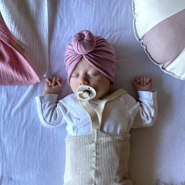 Bilde av Baby Turban med søt donut - Looks by Luks - Dus Rosa